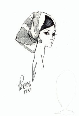 Halston striped fur kerchief