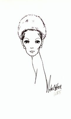 Halston white fur toque