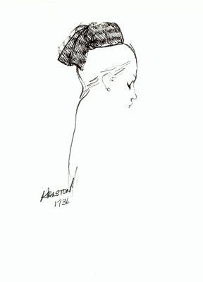 Halston fabric doll hat