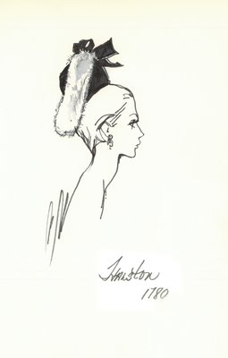 Halston black doll hat with white fur