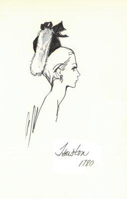 Halston black doll hat with white fur