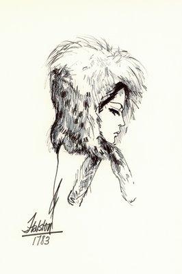 Halston spotted fur hood