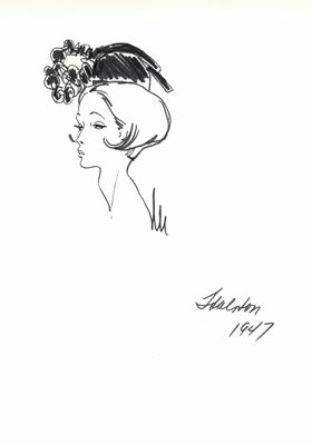 Halston black doll hat with ornament