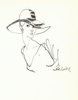 Halston striped hat