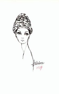 Halston leopard skin toque