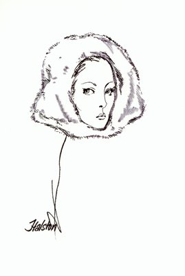 Halston white fur hood