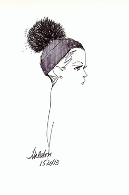 Halston skull cap with pompom