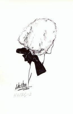 Halston white fur casque