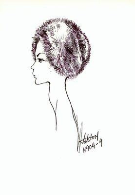 Halston fur casque