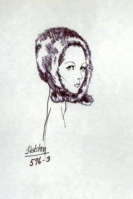 Halston fur helmet