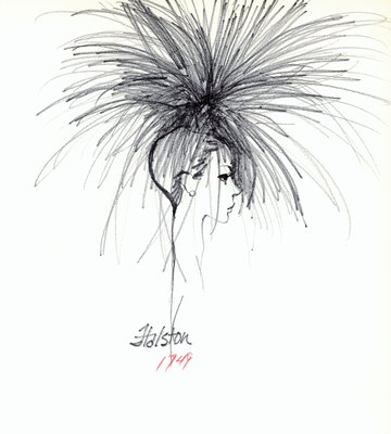 Halston hat with quill feathers