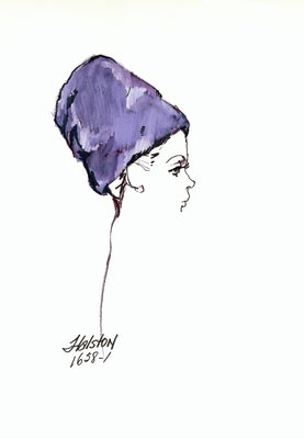 Halston purple fur toque