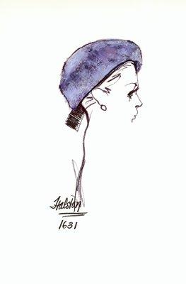 Halston blue velour beret