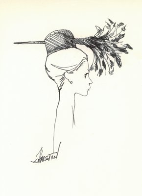 Halston doll hat with feather