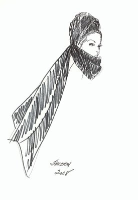 Halston turban with scarf
