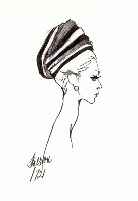 Halston striped fabric toque