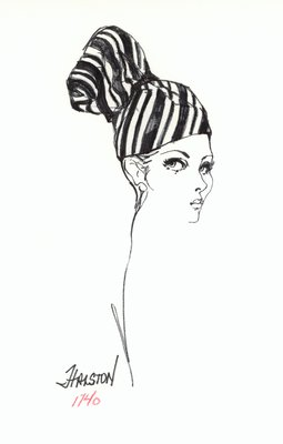 Halston striped cap