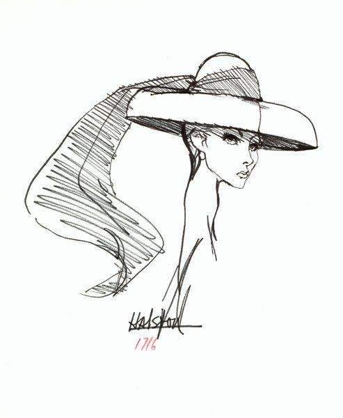 Halston wide brimmed hat