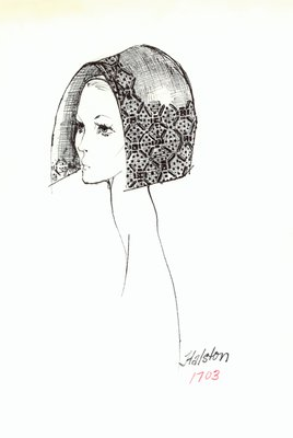 Halston beaded straw bonnet