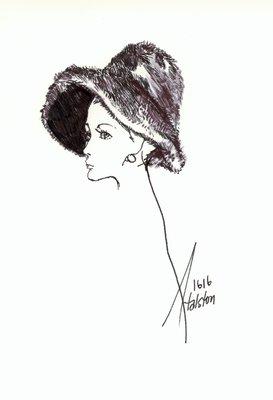 Halston fur slouch hat