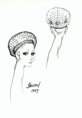 Halston dotted beret with buttons