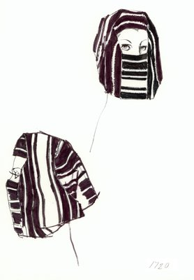 Halston striped fabric hood