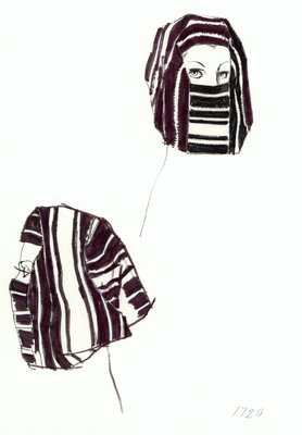 Halston striped fabric hood