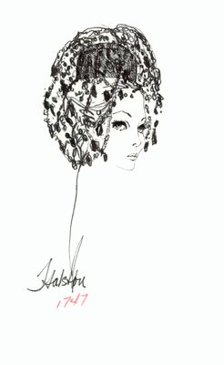 Halston doll hat with beaded veil