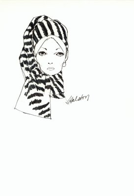 Halston zebra-striped toque
