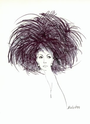 Halston black quill feathered hat