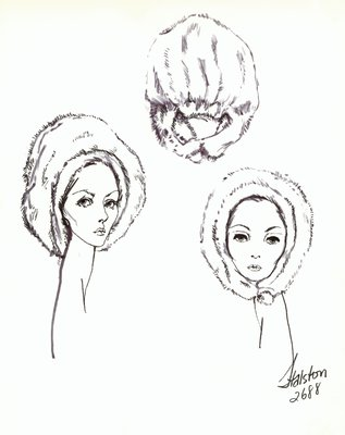 Halston white fur beret