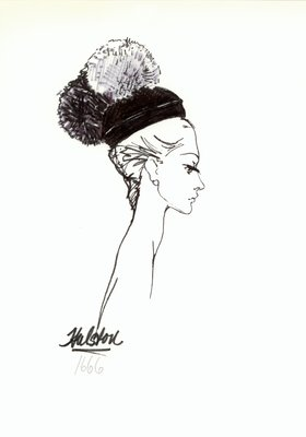 Halston black hat with pompoms