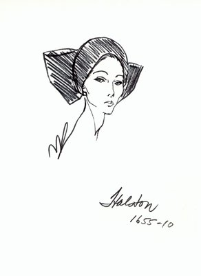 Halston toque with bow