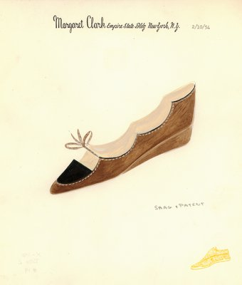 Jerry Miller brown flat with scalloped throat