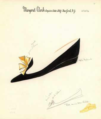 Jerry Miller black patent flat with gold bow