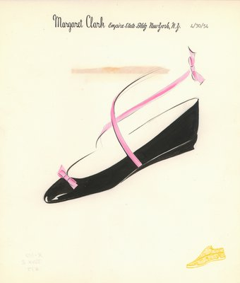 Jerry Miller black flat with pink ribbons and bow