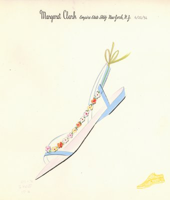 Jerry Miller blue sandal with flowers on strap