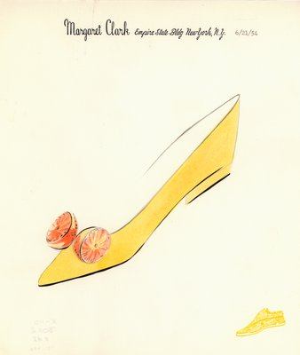 Jerry Miller yellow flat with orange halves motif