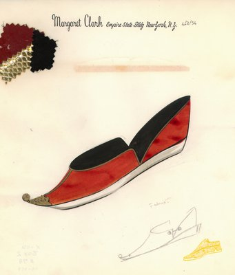 Jerry Miller red flat with gold snakeskin trim and ball