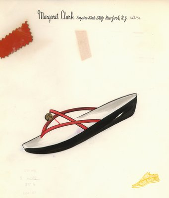 Jerry Miller red sandal with gold coin