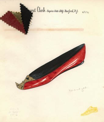 Jerry Miller red patent flat with gold leather hinge