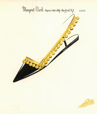 Jerry Miller black patent flat with yellow fringe