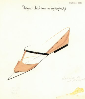 Jerry Miller beige suede and black patent flat