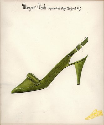Jerry Miller green pump with decorative stitching