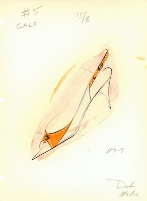 Jerry Miller orange and white slingback pump