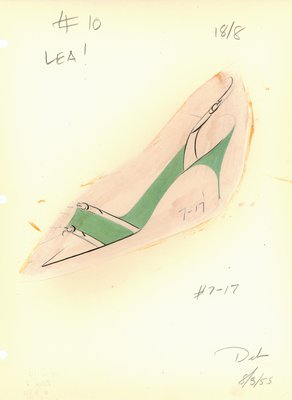 Jerry Miller green and white slingback pump