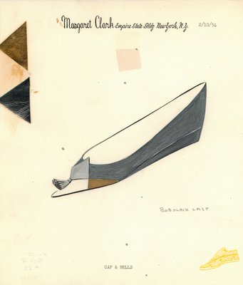 Jerry Miller gray flat with silver and gold patches