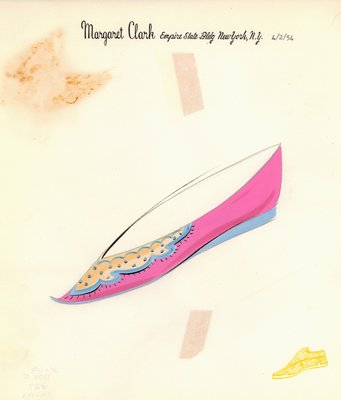 Jerry Miller pink flat with Turkish toe and applique