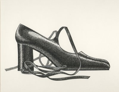 Jerry Miller pump with ballet-style ties