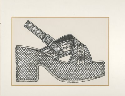 Jerry Miller sandal with embroidered ribbons